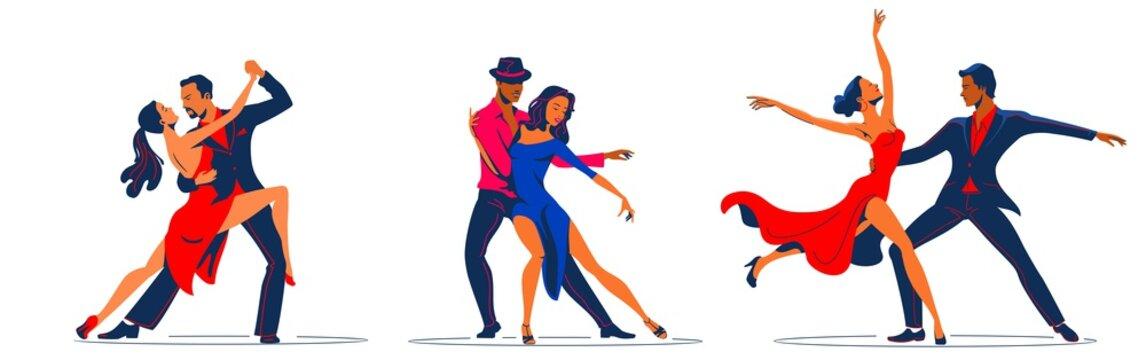 Couples dancing tango. dance figures. vector illustration