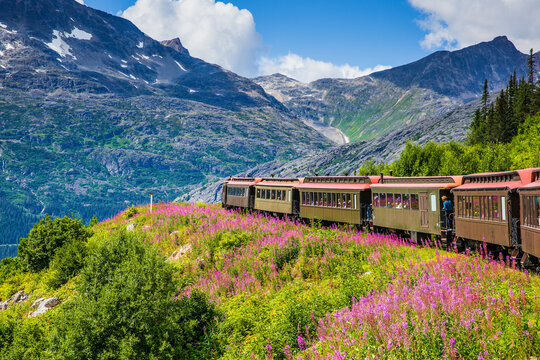 Skagway, Alaska. The scenic White Pass & Yukon Route Railroad.