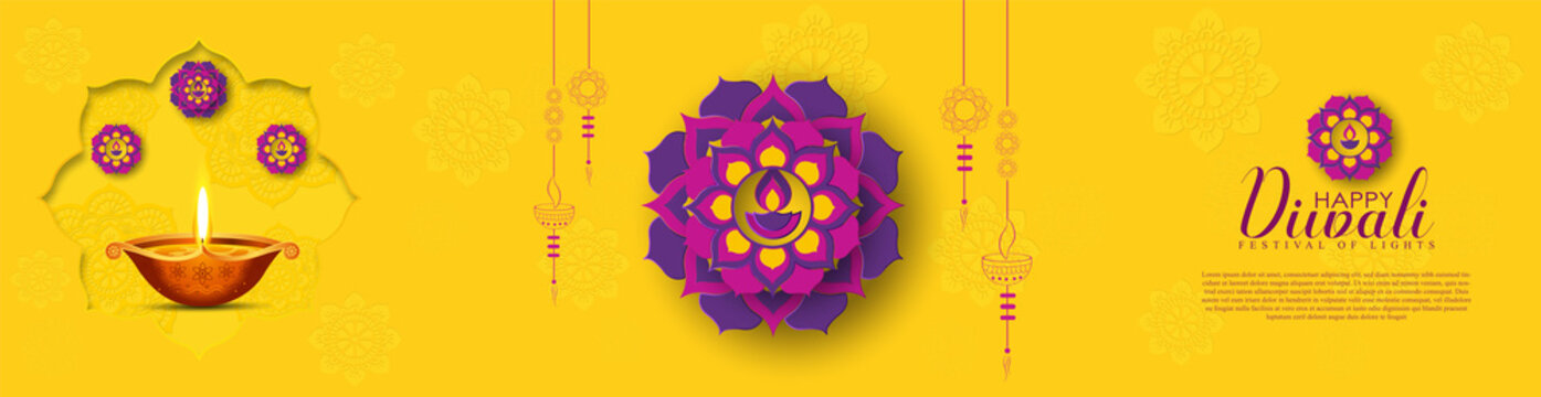 Happy Diwali, Holiday background for light festival of India.