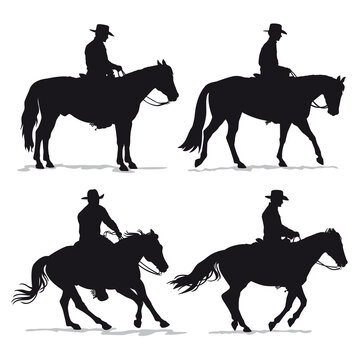 Set of cowboy and horse silhouettes - Western riding discipline Reining vector collection