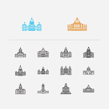 Building icons set. Congress and building icons with exterior, lowa state capitol and massachusetts state capitol. Set of architectural for web app logo UI design.