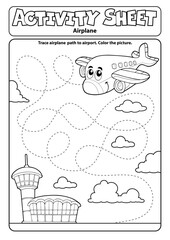Foto op Canvas Voor kinderen Activity sheet airplane theme 1