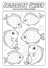 Foto op Canvas Voor kinderen Activity sheet fish theme 1