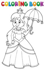 Foto op Canvas Voor kinderen Coloring book princess with umbrella theme 1