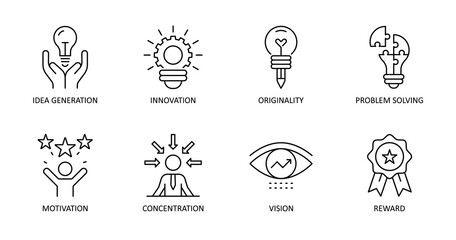 Vector creativity icons. Editable Stroke. Idea generation, concentration, problem solving, motivation, reward, vision, originality, innovation.
