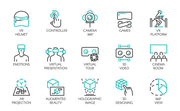 Big set of line icons of augmented reality digital AR technology future. 15 vector labels isolated on a white background. Symbols of virtual modeling, simulation, 3d video, presentation and other.