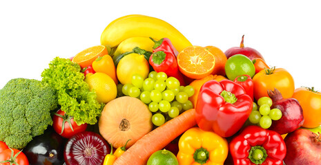Wall Mural - Big collection delicious wholesome fruits and vegetables isolated on white