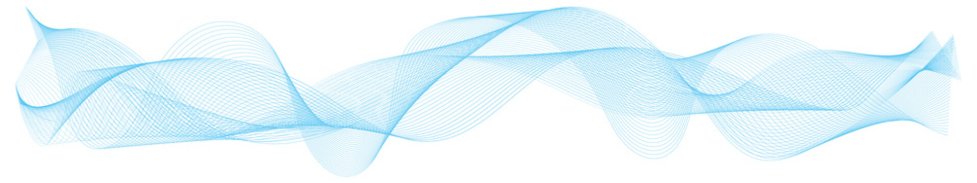 abstract blue wave lines frame on white background