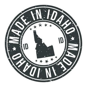 Made In Idaho State USA Quality Original Stamp Design Vector Art Tourism Souvenir Round
