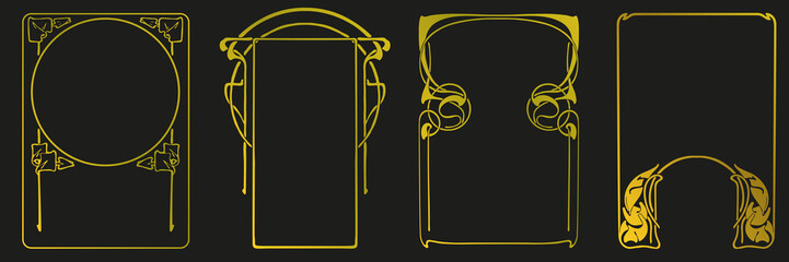 Frames with style Art Nouveau ornament vector set. Wall mural