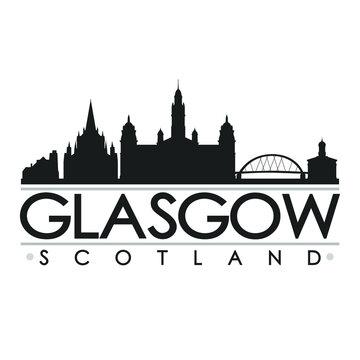 Glasgow Scotland Skyline Silhouette Design City Vector Art
