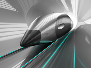 Futuristic supersonic train inside low-pressure tunnel with motion blur effect. 3d render.