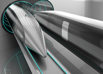 Futuristic supersonic trains inside low-pressure tunnel. 3d render.