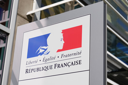 Republique Francaise sign logo for France Republic with text freedom equality fraternity in french building state institution