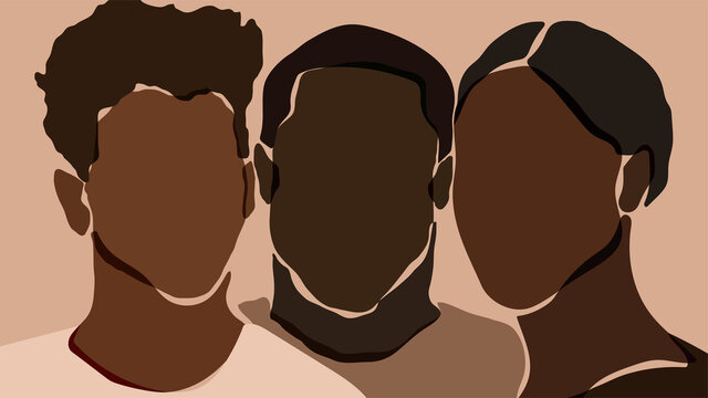 Poster design with young african americans silhouettes. Vector illustration.