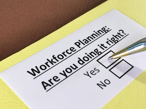 One person is answering question about workforce planning.