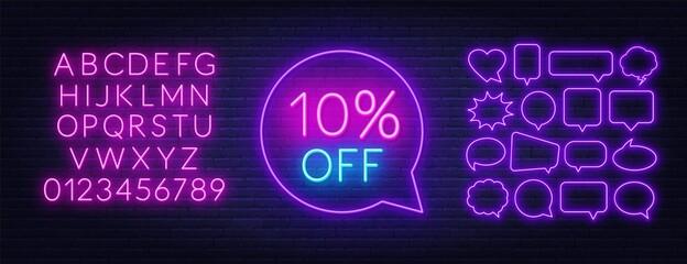Fototapete - 10 percent off neon sign. Neon alphabet on brick wall background.