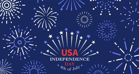 Door stickers Wall Decor With Your Own Photos 4th of july. Freedom fireworks, usa independence day poster. American liberty, united states national festive invitation vector background. Usa independence 4th july, celebration poster illustration