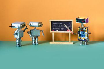 Artificial intelligence machine learning and robotics education concept. Robot teacher explains...