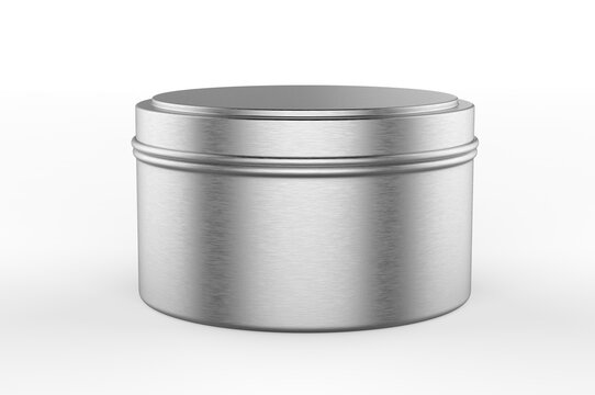 Blank Travel Tin Candle For Branding And Mock up, 3d render illustration.