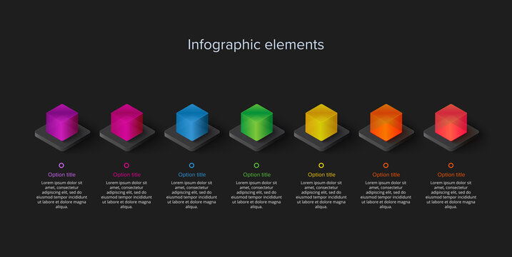 Business process chart infographics with 7 step cubes. Cubic corporate workflow graphic elements. Company flowchart presentation slide template. Vector info graphic design.