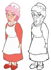 Vector Illustration of a Cartoon Character Grandmother   for you Design. Coloring Book Outline
