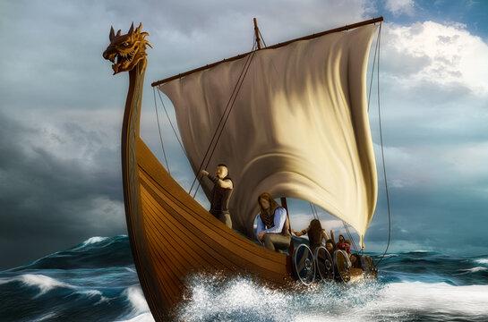 Viking ship on the sea