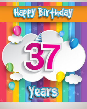 Celebrating 37th Anniversary logo, with confetti and balloons, clouds, colorful ribbon, Colorful Vector design template elements for your invitation card, banner and poster.