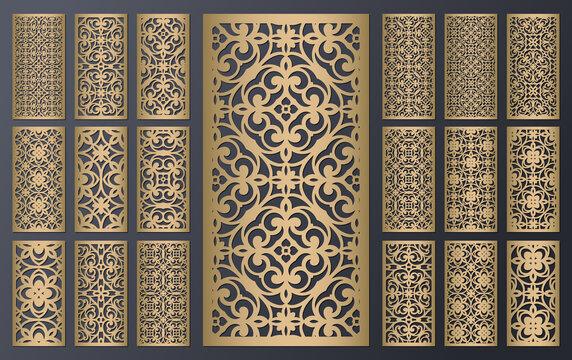 Laser cut ornamental panels set, ratio 1:2. Template for wedding invitation or greeting card. Cabinet fretwork screen. Metal design, wood carving, vector.