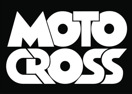 Motocross isolater text. Hand lettering illustration made in modern brush calligraphy style. Motocross template logo. Print for t-shirt, postre.