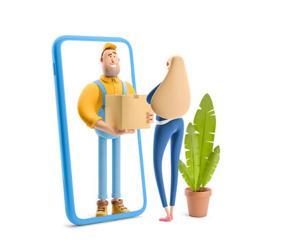 3d illustration. Cartoon character. Deliveryman in overalls standing inside the phone and  holds a box with a parcel. Online delivery Concept.