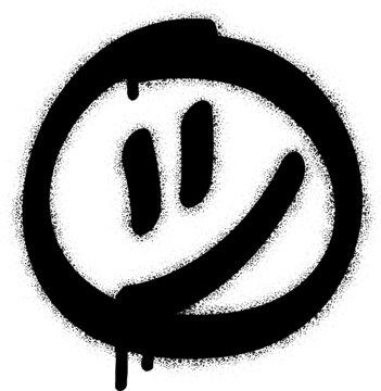 Spray graffiti smiley symbol. White background.