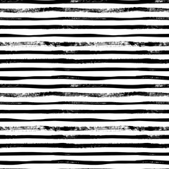 Grunge lines vector seamless pattern. Horizontal brush strokes, straight stripes or lines.