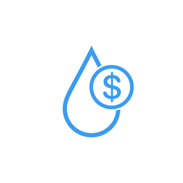 Water cost and save icon. Blue dollar symbol in water drop sign. Stock Vector illustration isolated on white background.