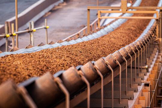 Conveyor belt moving iron ore