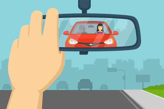 Hand adjusting rear view mirror in a car. Flat vector illustration.