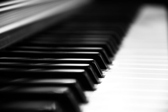 A close-up view of the piano keys