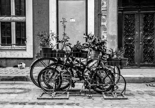 Old bikes in the middle of the street