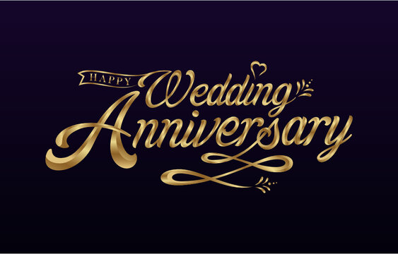 Golden Colored Wedding Anniversary luxurious lettering design for Greeting, Invitation, Card, etc. Vector Design.