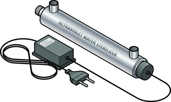 A portable ultraviolet UV water sterilizer with a power pack.