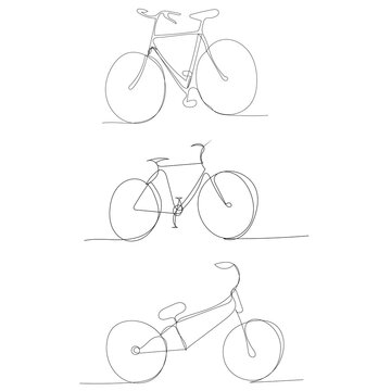 vector, isolated, bicycle continuous line drawing