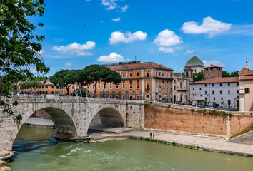 Landscape of bridge above Tiber river over Trastevere area  in Rome, Italy.
