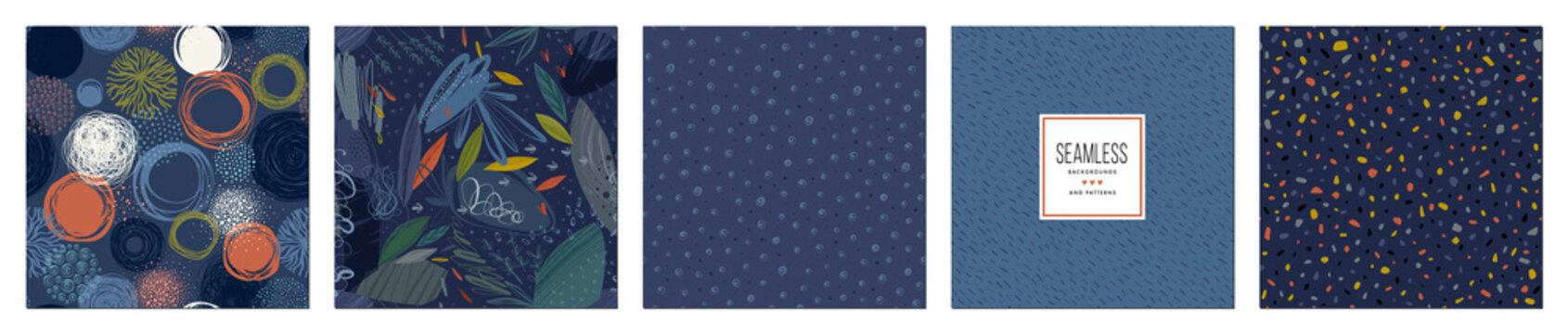 Trendy seamless patterns set in navy blue tones. Cool abstract design. For fashion fabrics, kid's clothes, home decor, quilting, T-shirts, backgrounds, cards and templates, scrapbooking etc.