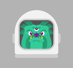 Three-eyed alien dog isolated. Space Pet vector illustration