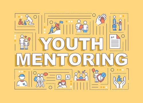 Youth mentoring word concepts banner. Adult care for children. Teacher help student. Infographics with linear icons on orange background. Isolated typography. Vector outline RGB color illustration