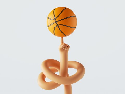 3d render, cartoon character tangled hand spins ball on a finger, isolated on white background. Basketball player amazing skill. Sport clip art
