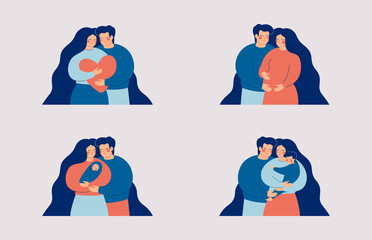 Young couple in love, Pregnant woman with man, family with an infant, parents embrace their baby boy. Family and childbirth concept. Flat cartoon vector illustration.