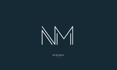 Alphabet letter icon logo NM