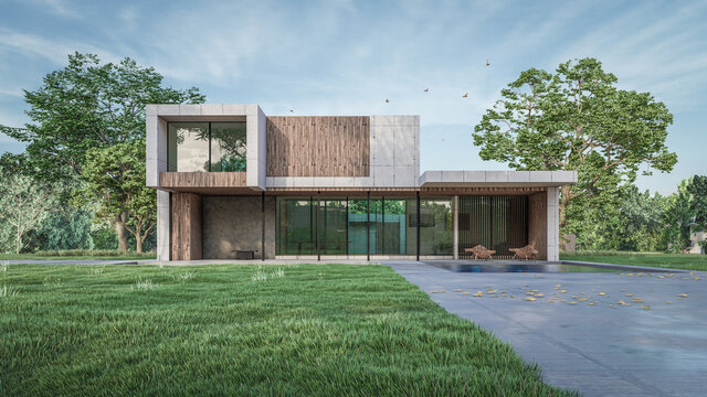 3d architectural visualization of the residential house