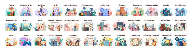 Artistic occupation set. Designer, dancer, artist, musician, florist